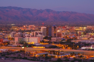 Tucson skyline and Catalina Mountains at dusk